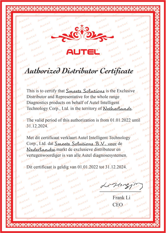 Autel-certificaat-exclusieve-distributeur-Nederland
